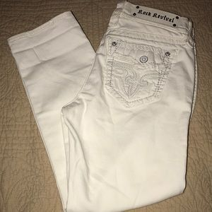 Rock Revival White Crop Jeans